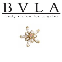 BVLA 14kt Yellow White Rose Gold Mini Nova Threaded End White Opal Genuine Diamond Accents 18g 16g 14g 12g Body Vision Los Angeles