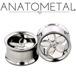 Anatometal Stainless Steel Eyelet Tunnel Pure Silver Plumeria Flower Insert 00g to 7/8""