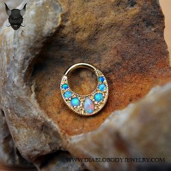 BVLA Boston Tiger 14kt Gold Septum Clicker White Opal Baby Blue Sky Blue Opal Accents 14g Body Vision Los Angeles