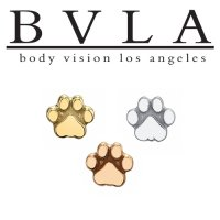 "BVLA 14kt Gold ""Flat Dog Paw"" Threaded End Dermal Top 18g 16g 14g 12g Body Vision Los Angeles"