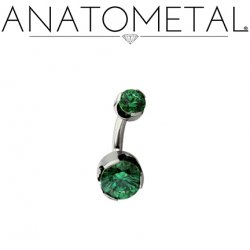 Anatometal Steel and Titanium Prong Set J-Curve Barbell 14g 12g