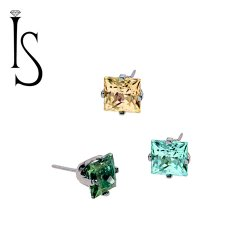 "Industrial Strength Titanium 4 Prong-set 3mm Princess Cut Threadless Gem End 18 Gauge 18g ""Press-fit"""