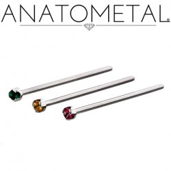 Anatometal Titanium Prong Gem Nostril Screw Nose Ring 18 gauge 20 Gauge 18g 20g