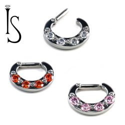 Industrial Strength Titanium 4 Faceted Gem Septum Clickers 14G 14 gauge