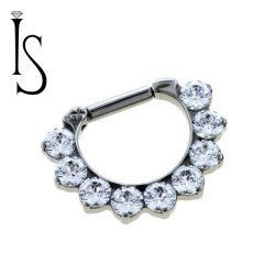 Industrial Strength Odyssey Titanium 3mm Faceted Gem Septum Clickers 16g 14g 12g