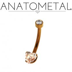 Anatometal Titanium Heart-Cut Gem Navel Curve Belly Button Ring 14 Gauge 12 Gauge 14g 12g