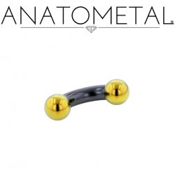 Anatometal Niobium Curved Barbell with Titanium Ball Ends 4 Gauge 4g