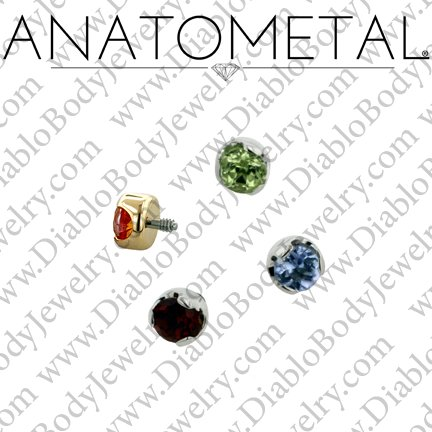 Anatometal Titanium Threaded 2mm Prong-Set Faceted Gem End 18 Gauge 16 Gauge 14 Gauge 12 Gauge 18g 16g 14g 12g - Click Image to Close