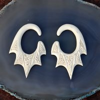 Fossilized Mammoth Tusk Hanging Bat Wing Ear Ornament 4 Gauge 4.5mm (one pair)