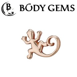 "Body Gems 14kt Gold ""Lizard"" Threaded End Dermal Top 18 Gauge 16 Gauge 14 Gauge 12 Gauge 18g 16g 14g 12g"