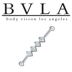 "BVLA 14kt Gold 5/32"" Balls Jenna 4 Genuine Diamond Industrial Barbell 14 Gauge 14g Body Vision Los Angeles"