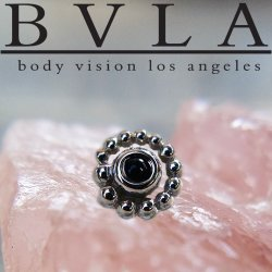 "BVLA 14kt Gold 4mm Beaded Swirl with 1.5mm Gem Threadless End 18g 16g 14g ""Press-fit"""