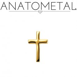 Anatometal 18Kt Gold Small Cross Threaded End 18g 16g 14g 12g