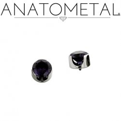 Anatometal Titanium Threaded 3mm Prong-Set Faceted Gem End 18 Gauge 16 Gauge 14 Gauge 12 Gauge 18g 16g 14g 12g