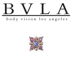 "BVLA 14kt Gold ""Orion"" Threadless Gem End 18g 16g 14g ""Press-fit"""