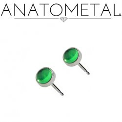 Anatometal Titanium 3mm Bezel-set Gem Earrings (Pair)