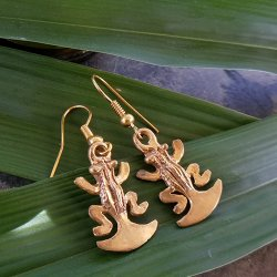 Pre-Columbian Design Bronze Frogs Earrings #3 (Pair)