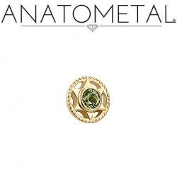 Anatometal 18Kt Gold Threaded Vice End 2mm Gem 18g 16g 14g 12g