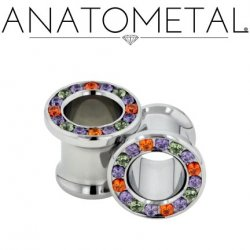 Anatometal Surgical Steel Multi-Gem Bling Eyelet 6 Gauge 6g - 7/8""