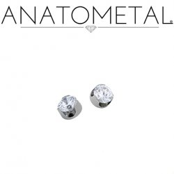 Anatometal Titanium Threaded Prong-Set Diamond End 2mm 2.5mm 3mm 18 Gauge 16 Gauge 14 Gauge 12 Gauge 18g 16g 14g 12g