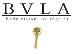 BVLA 14kt Yellow White Rose Gold Opal Cabochon Gem Nostril Screw Nose Bone Ring Nail Stud 20g 18g 16g Body Vision Los Angeles