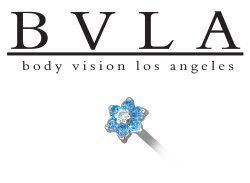 BVLA 14kt 18kt Yellow White Rose Gold Flower Genuine Ice Blue Diamond Gem Nostril Screw Nose Bone Nail Ring Stud 20g 18g 16g Body Vision Los Angeles