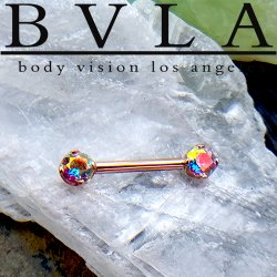 BVLA 14kt Gold Straight Barbell Forward Facing 4 Prong Bell-set Gems 14 Gauge 14g Body Vision Los Angeles