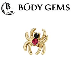 Body Gems 14kt Gold Venomous Spider Threaded End Dermal Top 18 Gauge 16 Gauge 14 Gauge 12 Gauge 18g 16g 14g 12g