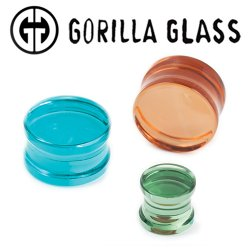 "Gorilla Glass Solid Double Flare Plugs 0 Gauge to 2"" (Pair)"