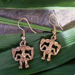 Pre-Columbian Design Bronze Man Figure Earrings #2 (Pair)