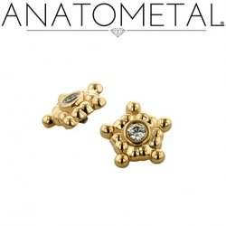Anatometal 18kt Gold 5 Cluster Sabrina End 1.5mm gem 18g 16g 14g 12g