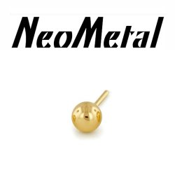 "14 Gauge 14g NeoMetal Threadless 2mm Ball End 14kt 14 Karat Gold ""Press-fit"""