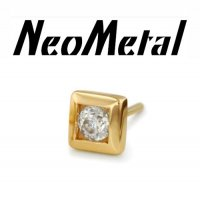 "NeoMetal 14kt Gold Square with CZ Threadless End 18 Gauge 18g ""Press-fit"""
