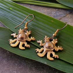 Pre-Columbian Design Bronze Two-Headed Turtle Earrings (Pair)