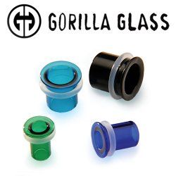 "Gorilla Glass Bullet Holes Ear Plugs Tunnels 2 Gauge to 1/2"" (Pair)"