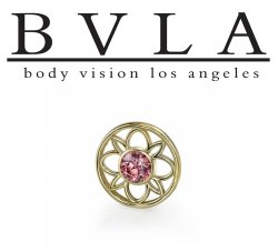 BVLA 14kt Gold Paloma Flower Threaded Gem End 18g 16g 14g 12g Body Vision Los Angeles