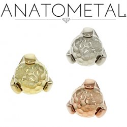 Anatometal 18Kt Gold Claw-set Hammered Gold Ball Threaded End 18g 16g 14g 12g