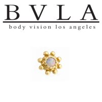 "BVLA 14kt Gold ""Indian Wheel\"" Threaded End Dermal Top 18g 16g 14g 12g Body Vision Los Angeles"