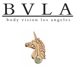 "BVLA 14kt Gold ""Unicorn"" Threaded End Dermal Top18g 16g 14g 12g Body Vision Los Angeles"