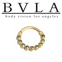"BVLA 14kt Gold ""Marina"" Nose Nostril Septum Ring 16 Gauge 16g Body Vision Los Angeles"