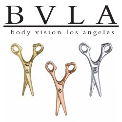 "BVLA 14kt Gold ""Scissors"" Threaded End Dermal Top 18g 16g 14g 12g Body Vision Los Angeles"