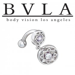BVLA 14kt Gold Genoa II Genuine Diamond Curved Barbell 14 Gauge 14g Body Vision Los Angeles