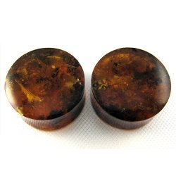 Dominican Amber Double Flare Organic Plugs 13/16""