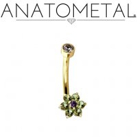 Anatometal 18kt Gold Flower Navel J-Curve Belly Button Ring 14 Gauge 14g