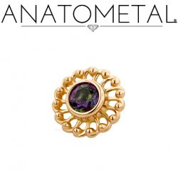 Anatometal 18Kt Gold Threaded Virtue End 3mm Mystic Topaz 18g 16g 14g 12g