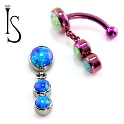 IS Titanium Fixed Top Bezel-set Faux-pal Cab Gem Curved Barbell w/ (2) 4mm Dangles 14 gauge 14g