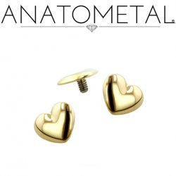 Anatometal 18Kt Gold Heart Threaded End 18g 16g 14g 12g