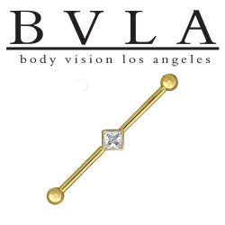 "BVLA 14kt Gold 5/32"" Balls Square Bezel Genuine Diamond Industrial Barbell 14 Gauge 14g Body Vision Los Angeles"