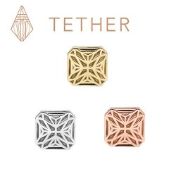 "Tether 14Kt Gold Square Star Threadless End 18 Gauge 18g ""Press-fit"""