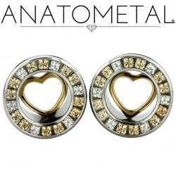 Anatometal Surgical Steel Princess Gem Bling Eyelet Tunnel 18kt Gold Heart Insert 00g to 7/8""